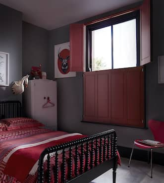 red solid bedroom shutters