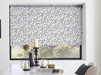 roller blinds with black and white pattern